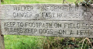 fast horses, sign on South West Coast Path, Dorset. Ruth's walk