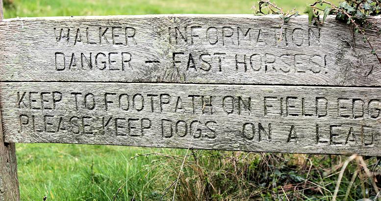 fast horses, sign on South West Coast Path, Dorset. Ruth's walk