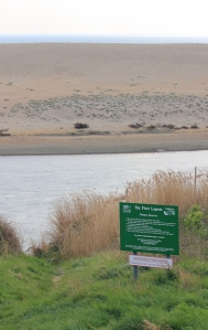 Fleet Lagoon sign, Chesil Beach, Ruth on South West Coast Path
