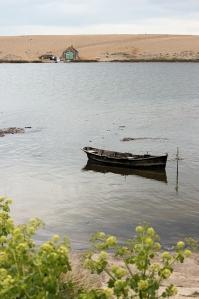 Chesil Beach and fishing boat and hut - Ruth's coastal walk
