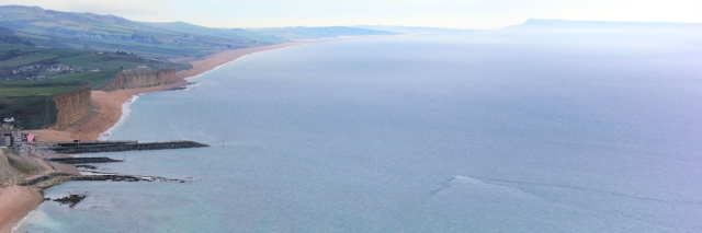looking back east, to Chesil Beach and Portland, Ruths coastal walk.