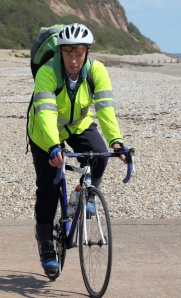 husband on bike at Seaton - Ruth's support team on her coastal walk