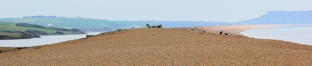 looking back along Chesil Beach, Ruth's coastal walk around the UK