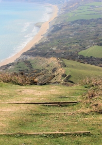 coming down from Golden Cap, Ruth on the South West Coast Path, Dorset