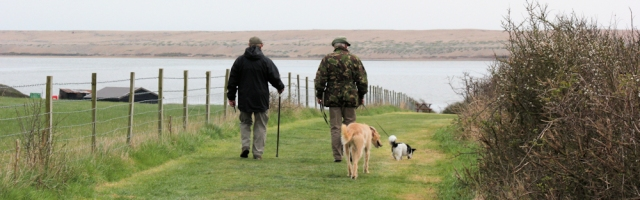 walkers and dogs, overlooking Chesil Beach. Ruth