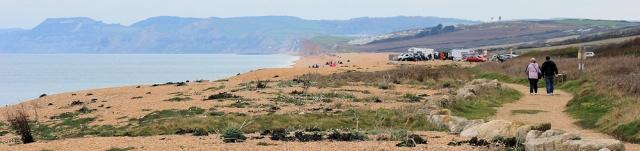 looking ahead to Golden Cap, Ruth walking the coast of Dorset