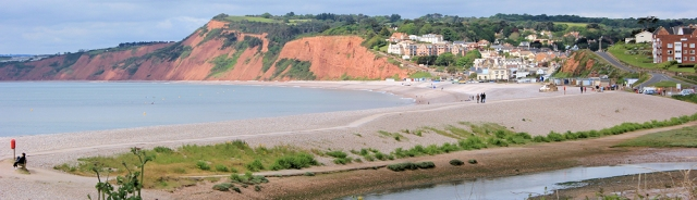 Towards Budleigh Salterton, Ruth walking round the coast, Devon