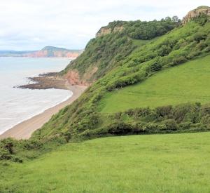 down to Weston Mouth, Ruth walking round the Coast, in Devon.