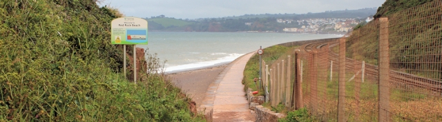 Red Rock Beach, looking towards Dawlish, Ruth walking round the coast in Devon