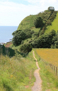 walk along track, South West Coast Path, Ruth walking around Devon