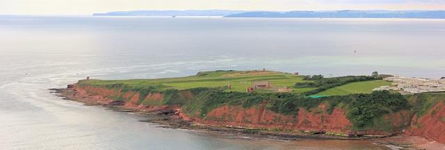 Rifle Range and Torbay beyond, Ruth walking round the coast