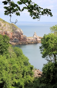Long Quarry Point, Torquay, Ruth on her coast walk