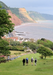 back down to Sidmouth, East Devon, Ruth walking round the coast