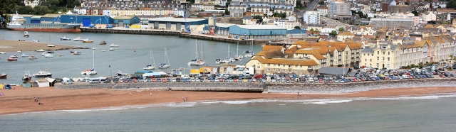 Teignmouth from The Ness, Ruth walking the South West Coast path
