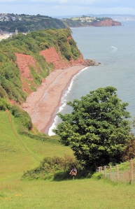 view from Bundle Head, Devon, Ruth on the South West Coast Path