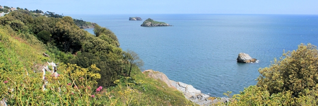 view back over rocks, Torquay, Ruth walking round Torbay