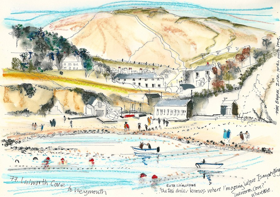 Lulworth Cove - Tim Baynes painting - Ruth's 'artist in Residence'
