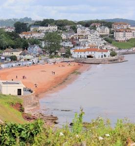 Goodrington Sands, Ruth on her coast walk, Devon