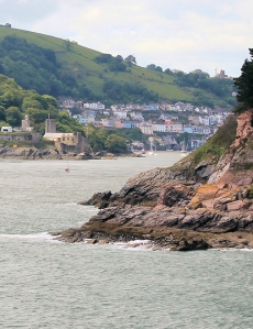 entrance to Dartmouth, Ruth walking the South West coast path
