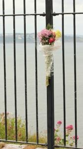 Berry Head, memorial flowers, Ruth's coast walk