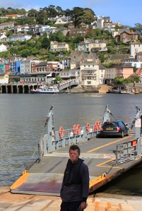 Ferry at Dartmouth side, Ruth walking the coast.