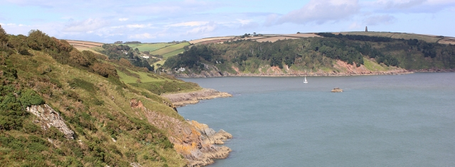 looking back to the mouth of the River Dart, Ruth walking round the coast