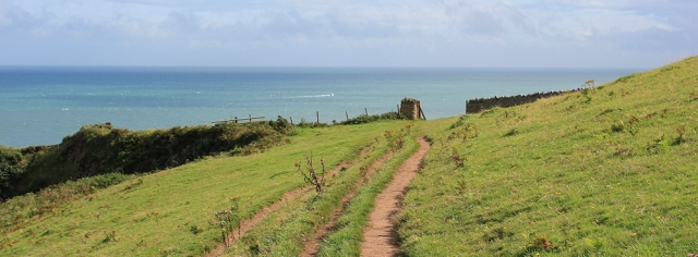Combe Point, Ruth walking on the South West Coast Path, Devon.