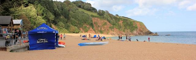 Blackpool Sands, Ruth on her coastal walk, Devon
