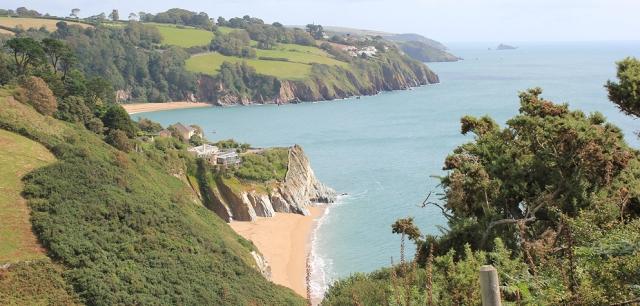 Matthew's Point, near Strete, Ruth walking round the coast in Devon