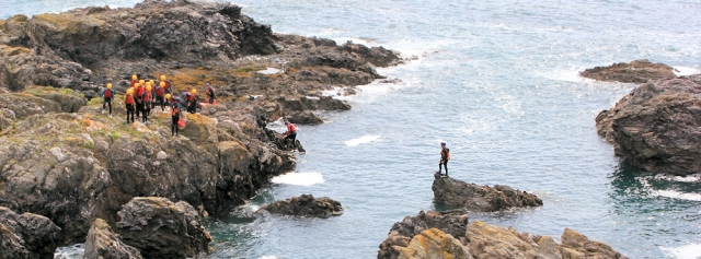 Divers near Two Stones, - Ruth's coastal walk, Devon