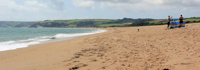 Slapton Sands, Ruth walking the South West Coast Path