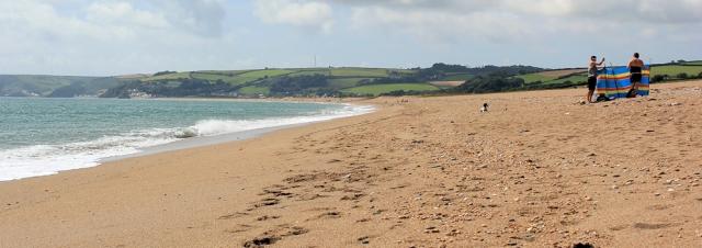 Slapton Sands, Ruth walking the South West Coast Path