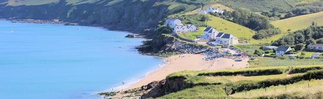 Hallsands - Ruth on her coastal walk. South West Coast Path, Devon.
