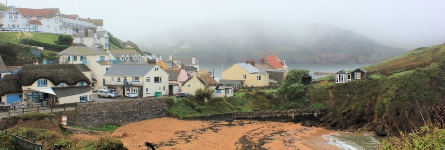 Hope Cove in the mist, Ruth's coastal Walk, Devon.