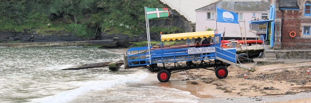 ferry tractor at South Sands, near Salcombe. Ruth walking the coast in Devon.