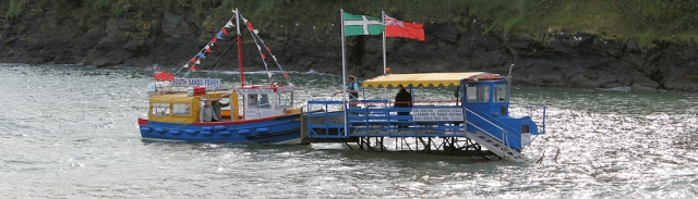 ferry at South Sands, near Salcombe on South West Coast Path. Ruth's Coast Walk, Devon.