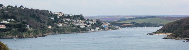 looking back at Salcombe from South West Coast Path. Ruth walking round the coast.