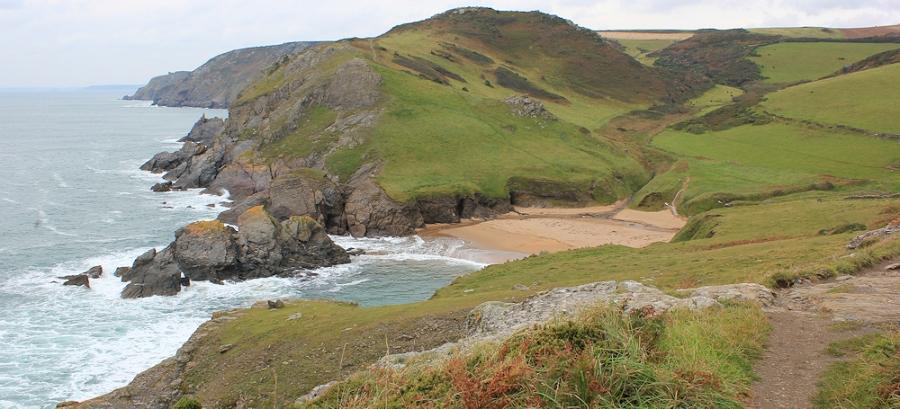 Soar Mill Cove - on South West Coast Path. Ruth's Coast Walk, Devon.