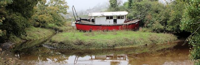 old boat, Bridge End, Averton Gifford. Ruth walking the coast.