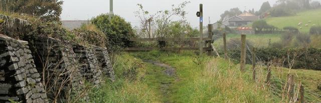 approaching bridge into Averton Gifford, Ruth on her coast walk.Devon.