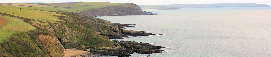 View back to Bolt Tail, from mouth of River Erme, Ruth's coastal walk.