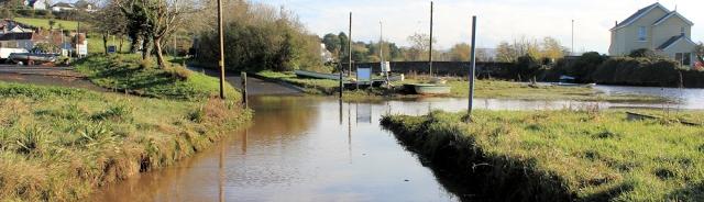 flooded road at Aveton Gifford, Ruth on her coastal walk