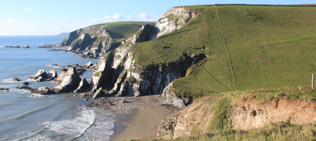 down to Westcombe Beach, South West Coast Path, Devon, Ruth's coast walking