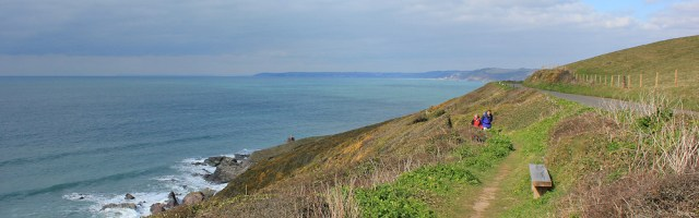 ahead to Looe, Ruth on her coastal walk