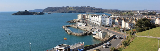 Plymouth and Drakes Island, sun shining on Ruth's coast walk
