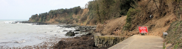 dangerous banks, Looe, Ruth walking the coast path