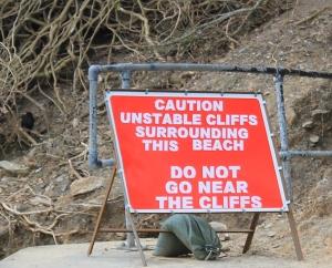warning notice, Ruth tryin to walk the coast, Cornwall