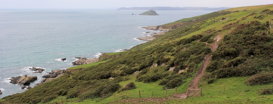 Ruth's coastal walk, looking across Gara Point and Plymouth Sound, South West Coast Path