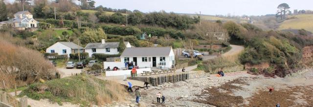 Talland Bay, Ruth walking the Cornish coast