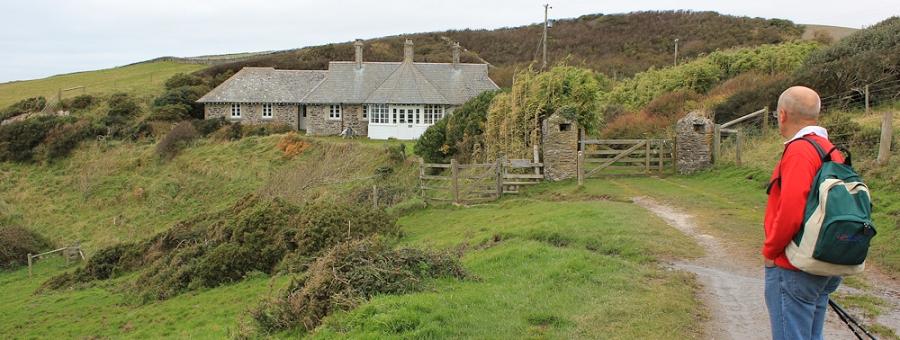 Warren Cottage, Ruth walking the coast, South Devon